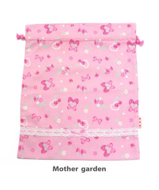 Mother garden マザーガーデン 野いちご 巾着 大  《ブーケ柄》 着替え袋 ピンク(淡)