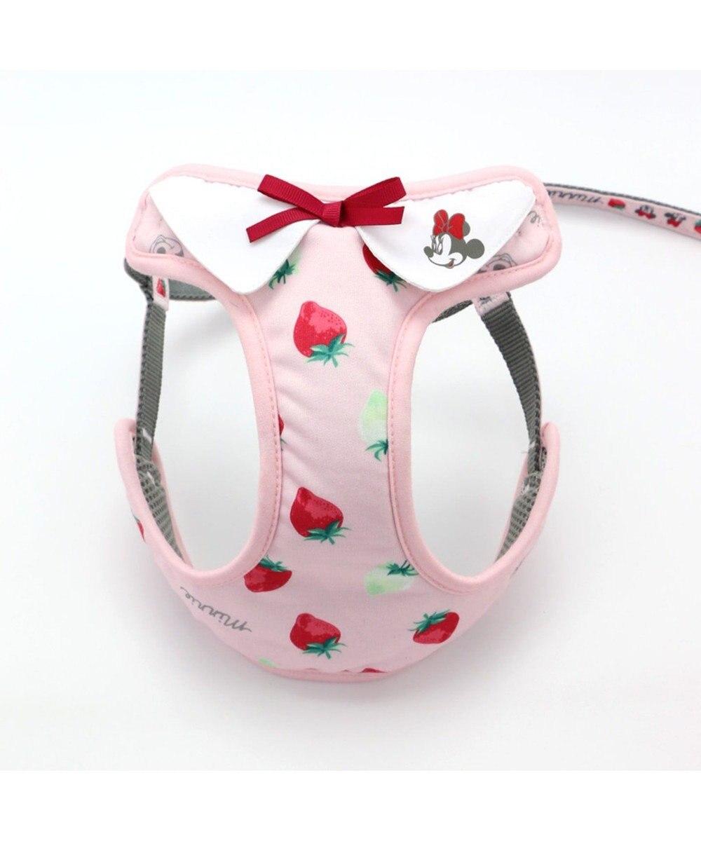 PET PARADISE ミ二ーマウス 苺総柄 ハーネスリード ペット3S 〔小型犬〕 ピンク(淡)