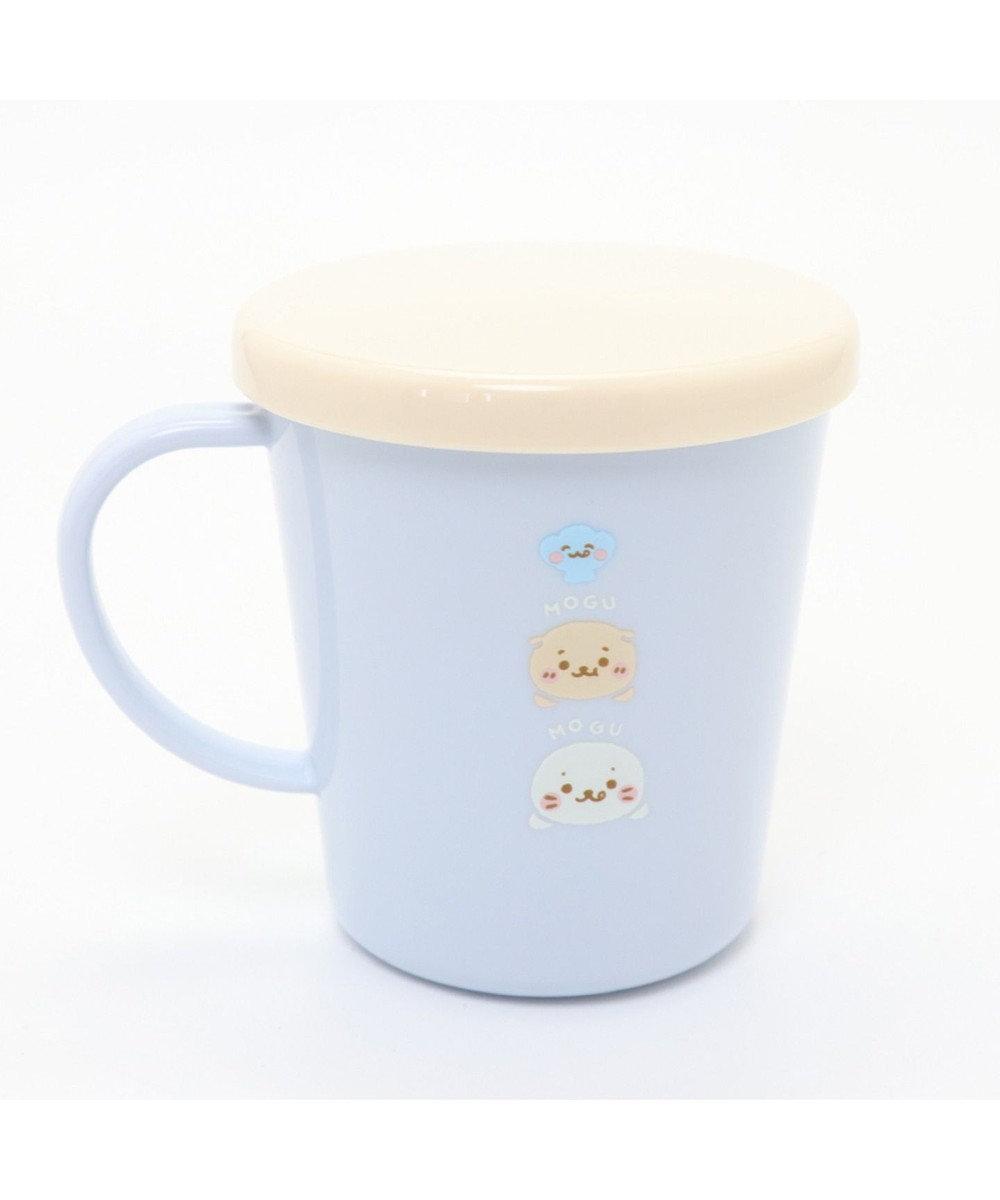 Mother garden しろたん もぐもぐ柄 蓋つきコップ 300ml 日本製 食洗機可 水色
