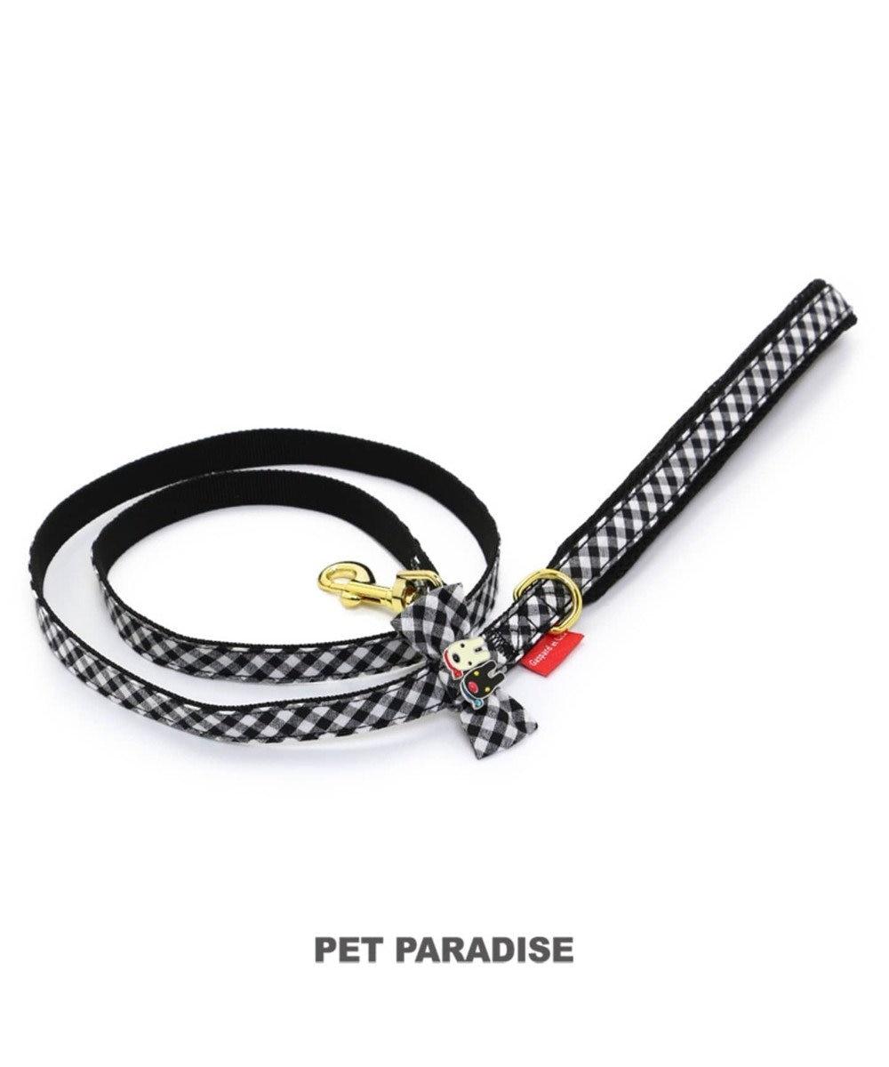 PET PARADISE リサとガスパール ギンガムチェック リード SS~S〔小型犬〕 黒