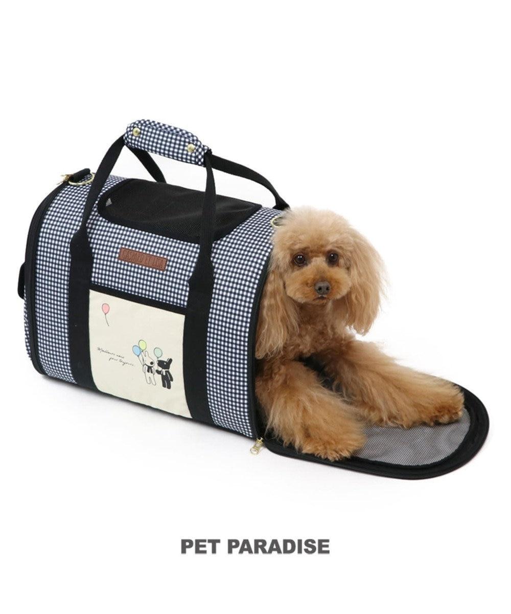 PET PARADISE リサとガスパール ギンガムチェック折畳みキャリーバッグ〔小型犬〕 黒