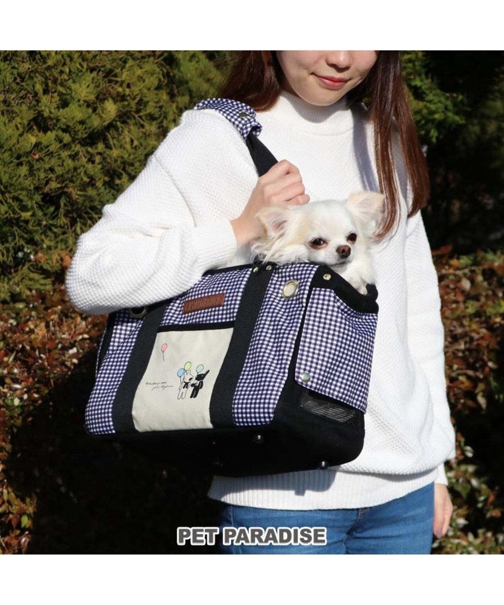 PET PARADISE リサとガスパール ギンガムチェック四角キャリーバッグ〔超小型犬〕 黒