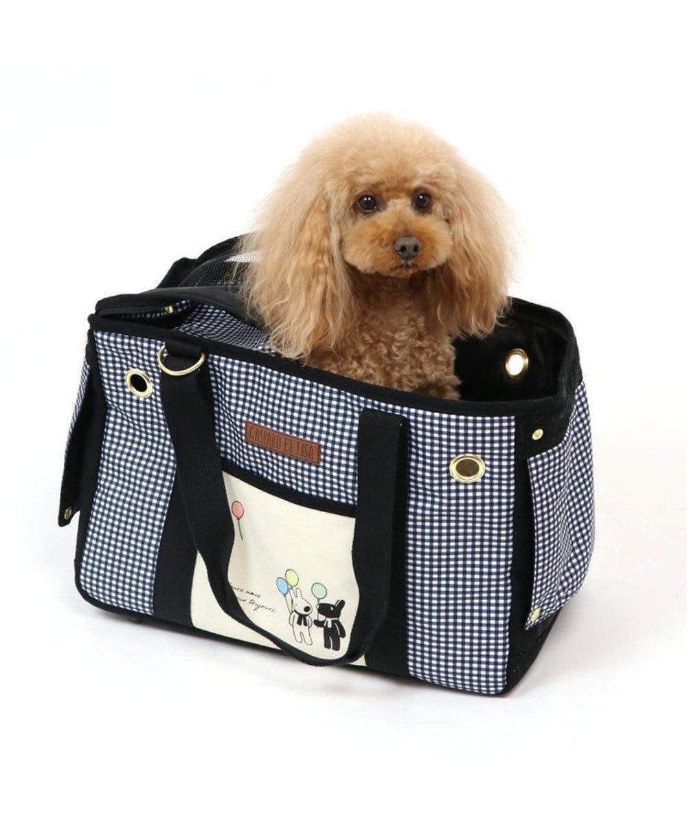 PET PARADISE リサとガスパール ギンガムチェック四角キャリーバッグ〔小型犬〕 黒