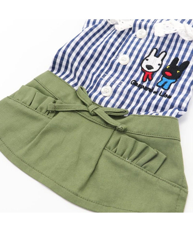 PET PARADISE リサとガスパール ギンガムチェック スカートつなぎ〔超・小型犬〕