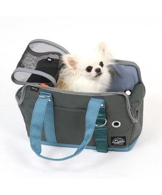 PET PARADISE コーデュラ キャリーバッグ グレー×ブルー〔超小型犬〕 グレー