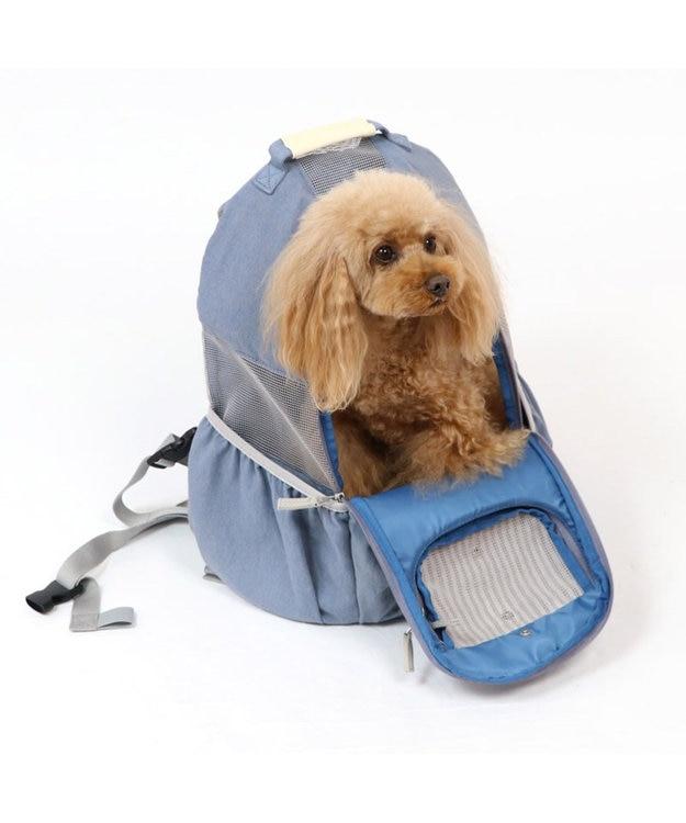 PET PARADISE りぼん デニム ハグ&リュック キャリーバッグ 〔小型犬〕 水色