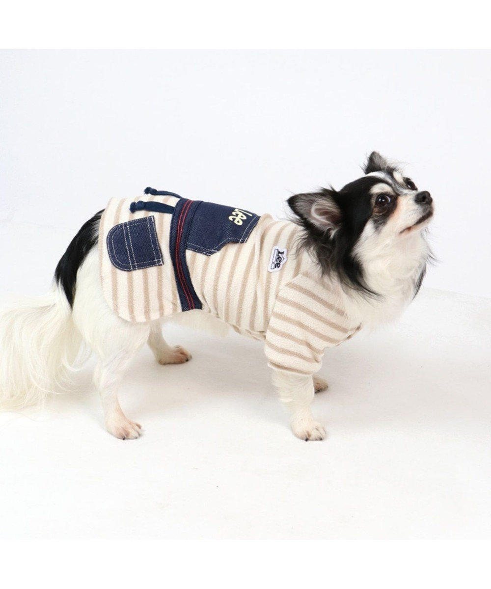 PET PARADISE Lee パイル ボーダー ワンピース 〔超小型・小型犬〕 ベージュ