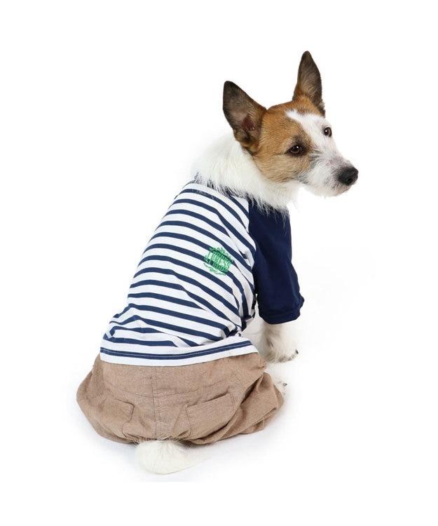 PET PARADISE J.PRESS ボーダー パンツつなぎ 〔超小型・小型犬〕 白~オフホワイト