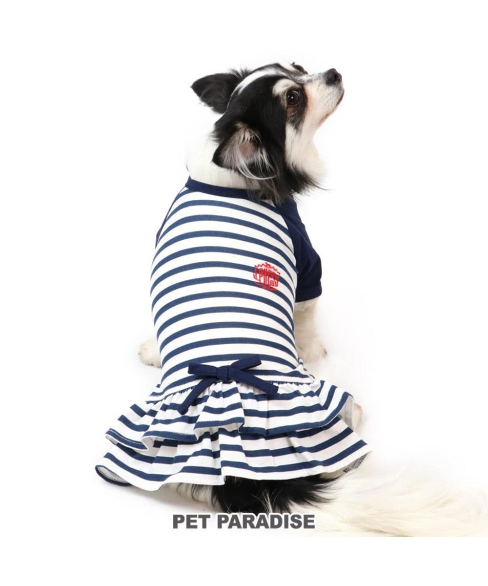 PET PARADISE J.PRESS ボーダー ワンピ―ス 〔超小型・小型犬〕 白~オフホワイト
