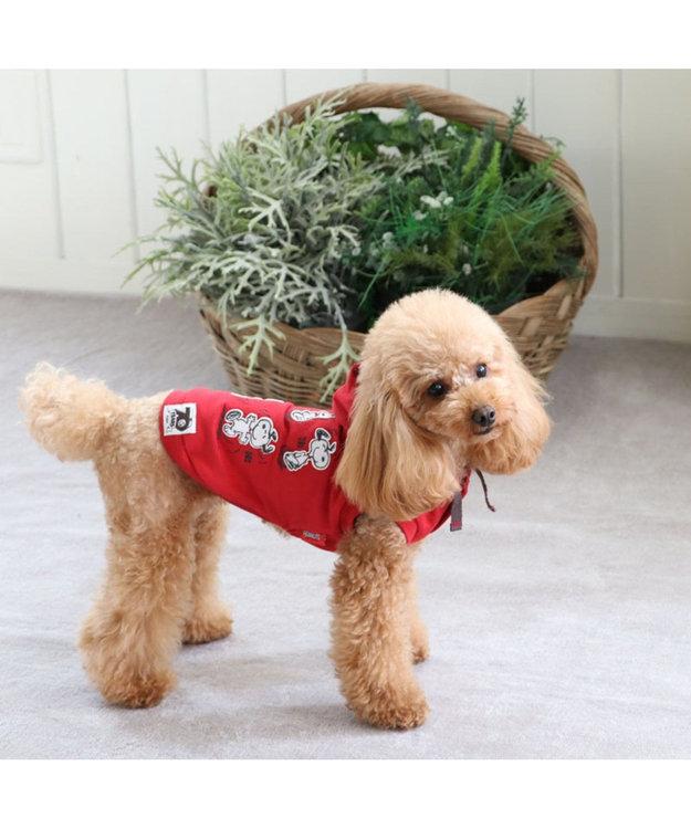 PET PARADISE スヌーピー 70周年 お揃い パーカー 赤 〔超小型・小型犬〕