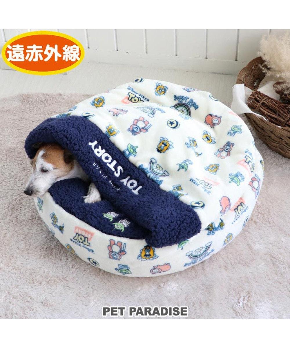 PET PARADISE 犬 ベッド おしゃれ 遠赤外線 ディズニー トイ・ストーリー 丸型 寝袋 (60cm) ハニー柄 暖かい あったか 保温 防寒 防寒対策 もこもこ ふわふわ 介護 おしゃれ かわいい 紺(ネイビー・インディゴ)