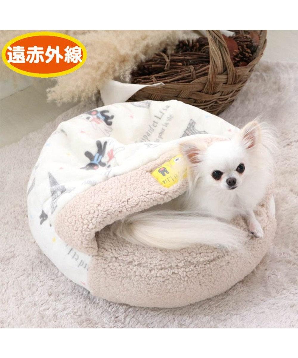 PET PARADISE 犬 ベッド おしゃれ 遠赤外線 リサとガスパール 丸型 寝袋 (50cm) 気球柄 暖かい あったか 保温 防寒 防寒対策 もこもこ ふわふわ 介護 おしゃれ かわいい 白~オフホワイト