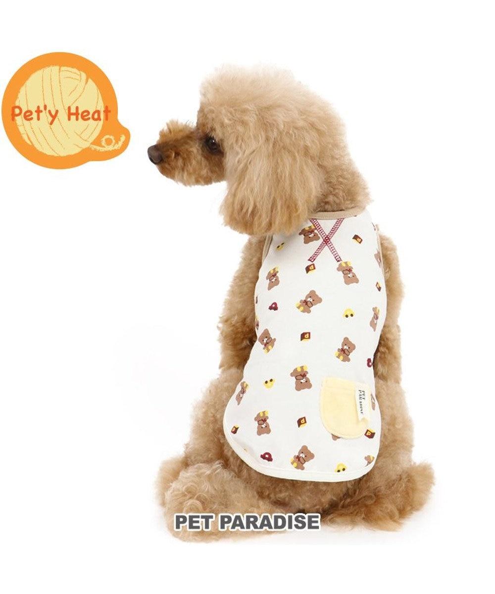 PET PARADISE 犬 服 秋服 タンクトップ 〔小型犬〕 くま柄 ペティヒート 暖かい あったか 保温 防寒 防寒対策 インナー 室内着 軽量 発熱 伸縮 ベージュ