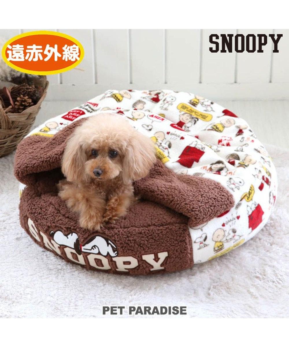 PET PARADISE 犬 ベッド おしゃれ 遠赤外線 スヌーピー 丸型 寝袋 (60cm) 仲良し柄 暖かい あったか 保温 防寒 防寒対策 もこもこ ふわふわ 介護 おしゃれ かわいい 茶系