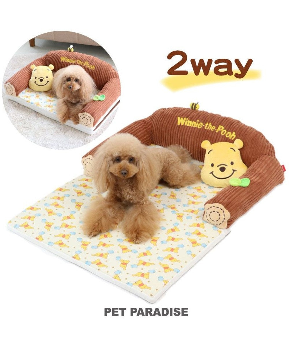 PET PARADISE 犬用品 ペットグッズ ベッド ベット ペットパラダイス ペット ベッド ディズニー くまのプーさん ソファーベッドカドラー (63×40cm) ネット限定 犬 猫 ベッド マット 小型犬 介護 おしゃれ かわいい ふわふわ あごのせ 黄