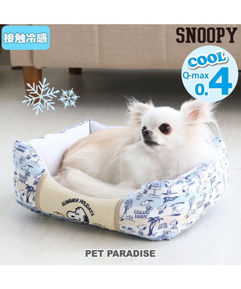 PET PARADISE 犬 春夏 クール 接触冷感 スヌーピー 四角カドラーベッド(38×32cm) サーフ柄 犬 猫 ベッド マット 小型犬 介護 おしゃれ かわいい ふわふわ あごのせ  水色