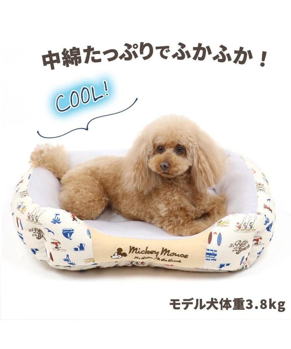 PET PARADISE 犬 春夏 クール 接触冷感 ディズニー ミッキーマウス 四角カドラーベッド(57cm×45cm) サーフ柄 犬 猫 ベッド マット 小型犬 介護 おしゃれ かわいい ふわふわ あごのせ 水色