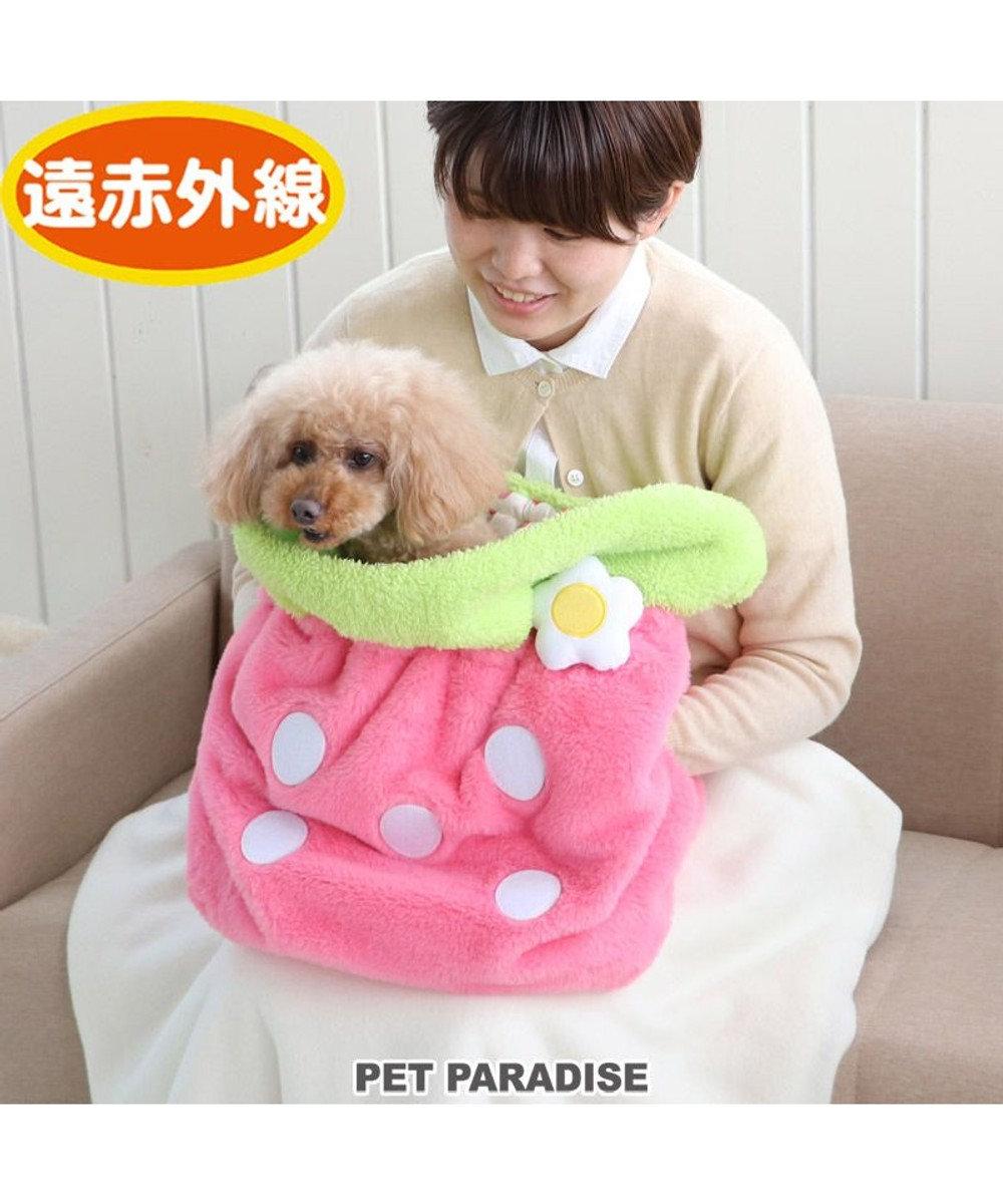 PET PARADISE 犬 ベッド おしゃれ 犬たんぽ (40×25cm) いちご 寝袋 もこもこ ふわふわ 犬 猫 ベッド ベット 小型犬 介護 おしゃれ かわいい クッション ネット限定 ピンク(淡)