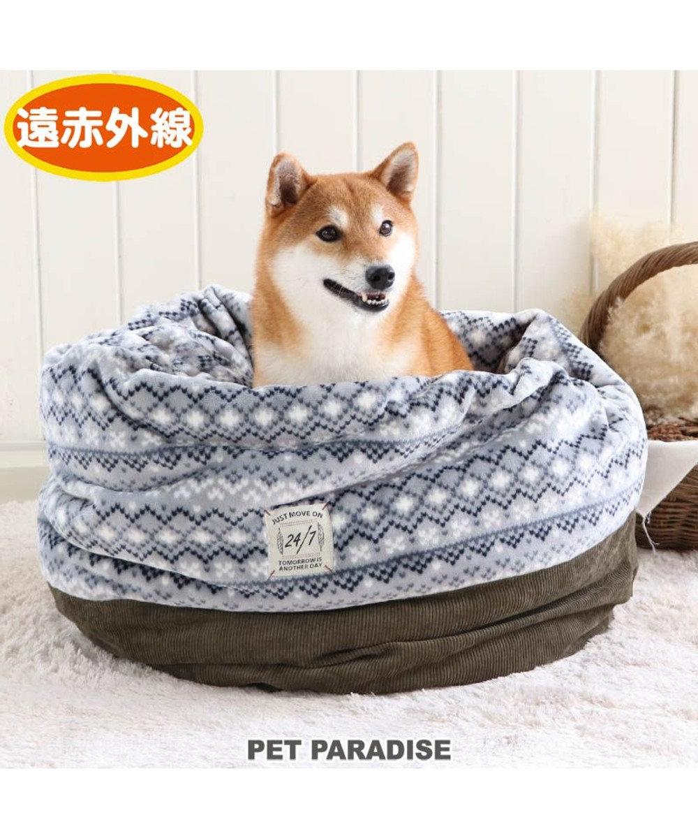 PET PARADISE 犬 ベッド おしゃれ 遠赤外線 寝袋 カドラー (57×95cm) フェアアイル柄 筒型 暖かい あったか 保温 防寒 防寒対策 もこもこ ふわふわ 介護 おしゃれ かわいい -
