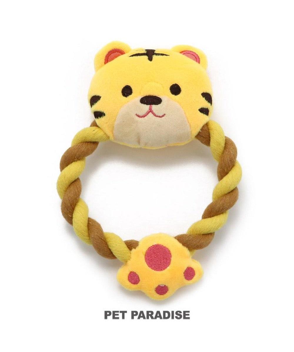 PET PARADISE 犬 おもちゃ トラ ロープおもちゃ  トイ TOY 虎 とら お正月 年賀状 干支 音が鳴る ぬいぐるみ ボール ロープ オモチャ 玩具 小型犬 おもちゃ 猫 かわいい おもしろ インスタ映え 黄