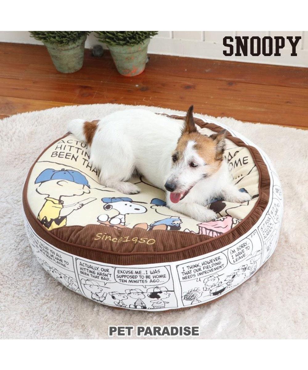 PET PARADISE 犬 猫 クッション カドラー スヌーピー クッション (60cm) チーム柄   茶系