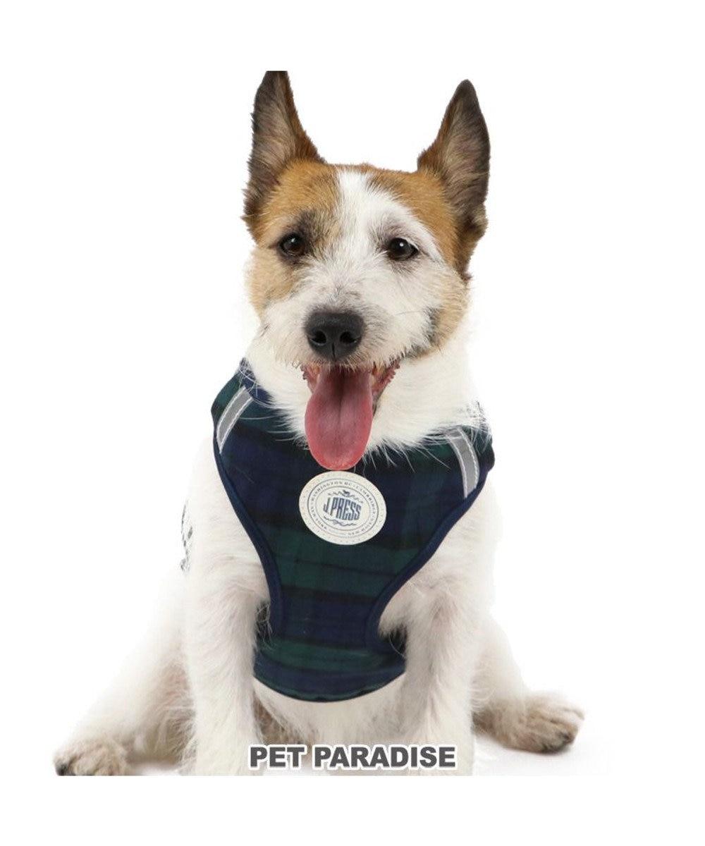 PET PARADISE 犬 ハーネス リード J.PRESS ハーネス&リード 【3S】 ブラックウォッチ 小型犬 おさんぽ おでかけ お出掛け おしゃれ オシャレ かわいい 緑