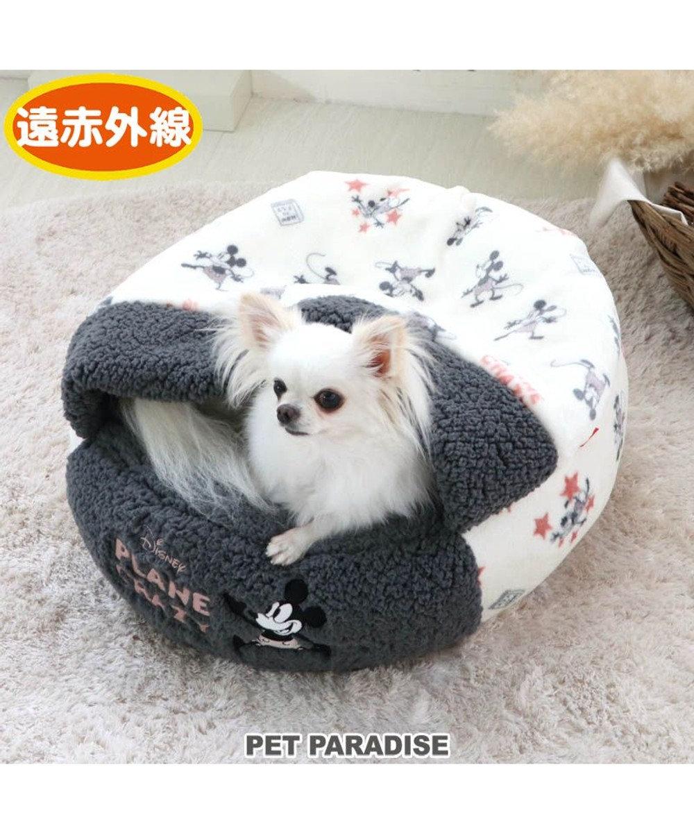 PET PARADISE 犬 ベッド おしゃれ 遠赤外線 ディズニー ミッキーマウス 丸型 寝袋 (50cm) プレーン 暖かい あったか 保温 防寒 防寒対策 もこもこ ふわふわ 介護 おしゃれ かわいい -