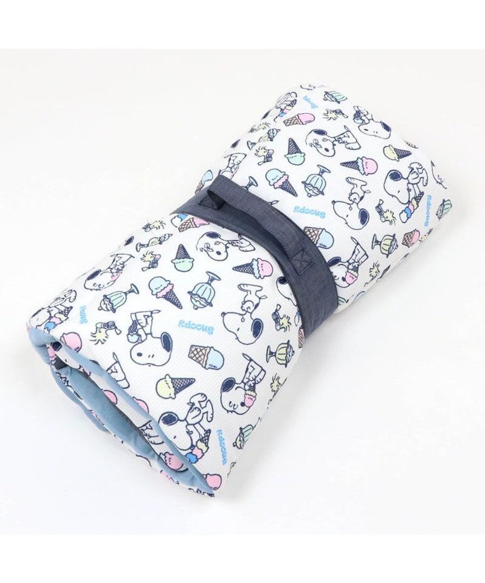 PET PARADISE 犬 春夏 クール 接触冷感 ペット ベッド スヌーピー 柔らか ロールマット(90×45cm) アイスクリーム柄 紺(ネイビー・インディゴ)