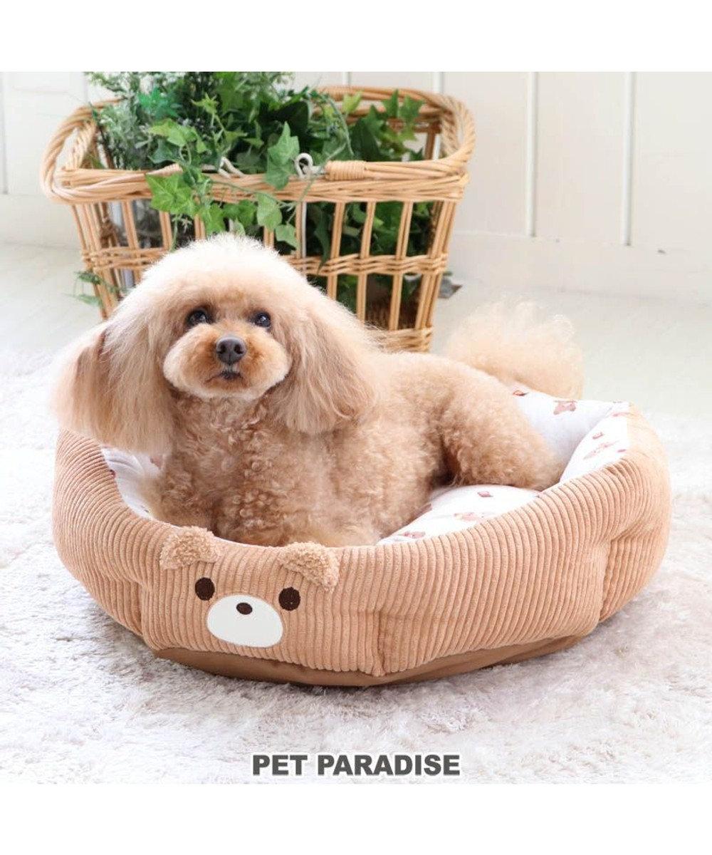 PET PARADISE 犬 カドラー カドラーベッド (45×38cm) くまさん 顔 猫 小型犬 介護 ふわふわ 通年 春 夏 秋 冬 クッション ソファ カドラー おしゃれ 室内 茶系