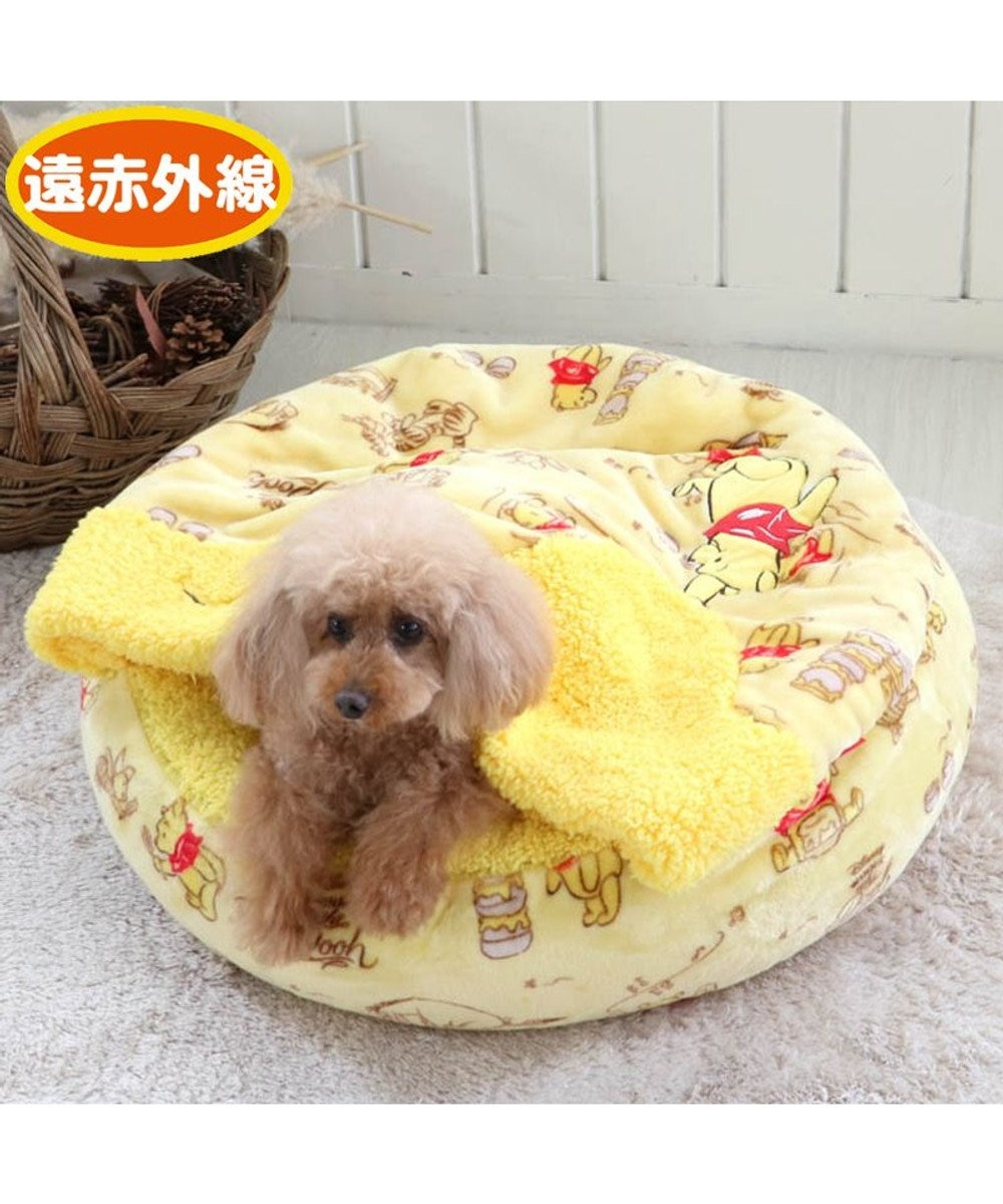 PET PARADISE 犬 ベッド おしゃれ 遠赤外線 ディズニー くまのプーさん 丸型 寝袋 (60cm) ハニー柄 暖かい あったか 保温 防寒 防寒対策 もこもこ ふわふわ 介護 おしゃれ かわいい 黄