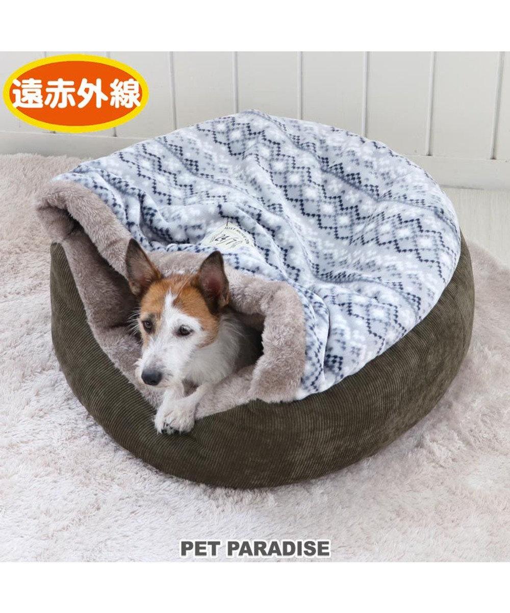 PET PARADISE 犬 ペット ベッド 遠赤外線 丸型 寝袋 (60cm) フェアアイル柄 暖かい あったか 保温 防寒 防寒対策 もこもこ ふわふわ 介護 おしゃれ かわいい 水色
