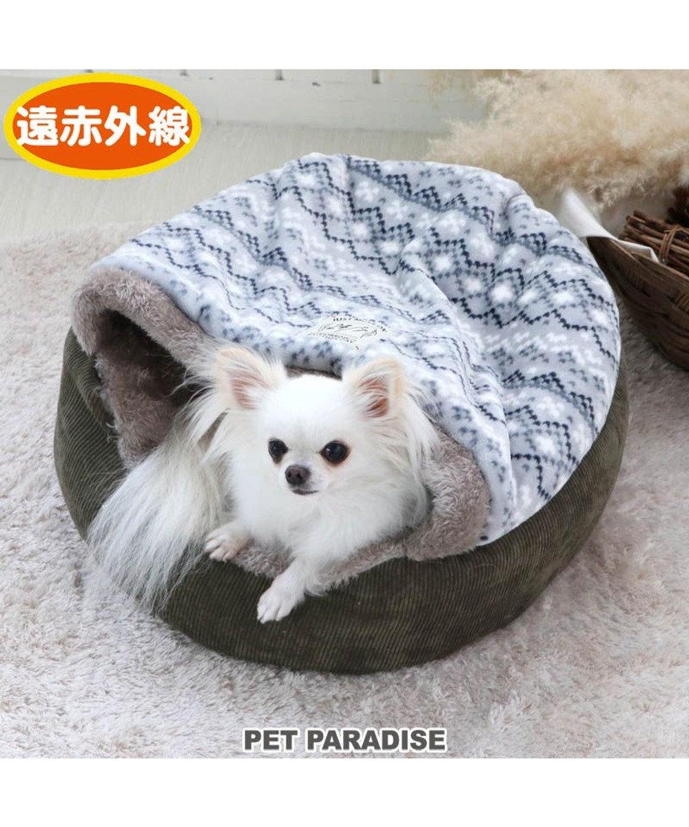 PET PARADISE 犬 ペット ベッド 遠赤外線 丸型 寝袋 (50cm) フェアアイル柄 暖かい あったか 保温 防寒 防寒対策 もこもこ ふわふわ 介護 おしゃれ かわいい 水色