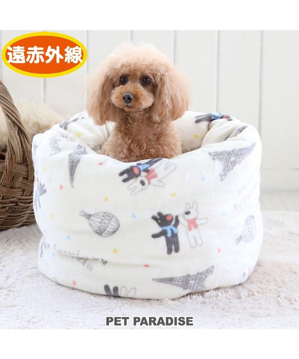 PET PARADISE 犬 ベッド おしゃれ 遠赤外線 リサとガスパール 寝袋 カドラー (42×70cm) 気球柄 筒型 暖かい あったか 保温 防寒 防寒対策 もこもこ ふわふわ 介護 おしゃれ かわいい 白~オフホワイト