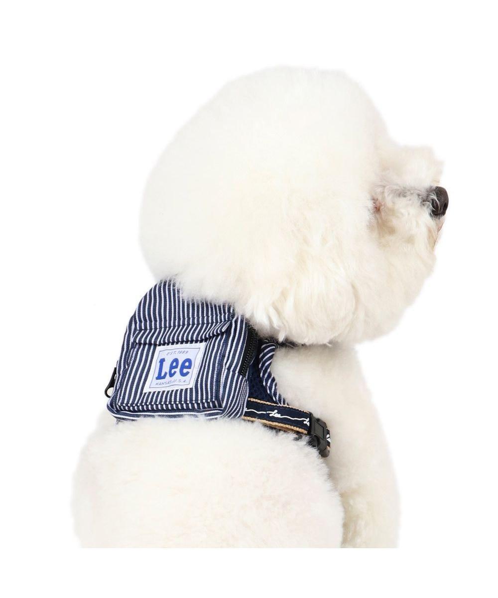 PET PARADISE 犬 ハーネス ペットパラダイス Lee ロープロゴ柄 ヒッコリーリュック ハーネス SS~S 〔小型犬〕 紺(ネイビー・インディゴ)