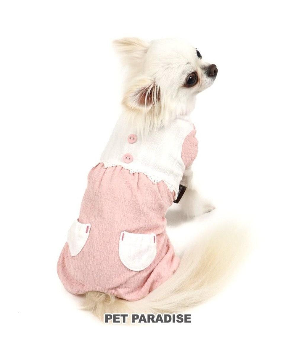 PET PARADISE 犬 服 春夏 ロンパース 〔小型犬〕 切替 桃 ドッグウエア ドッグウェア イヌ おしゃれ かわいい ピンク(淡)