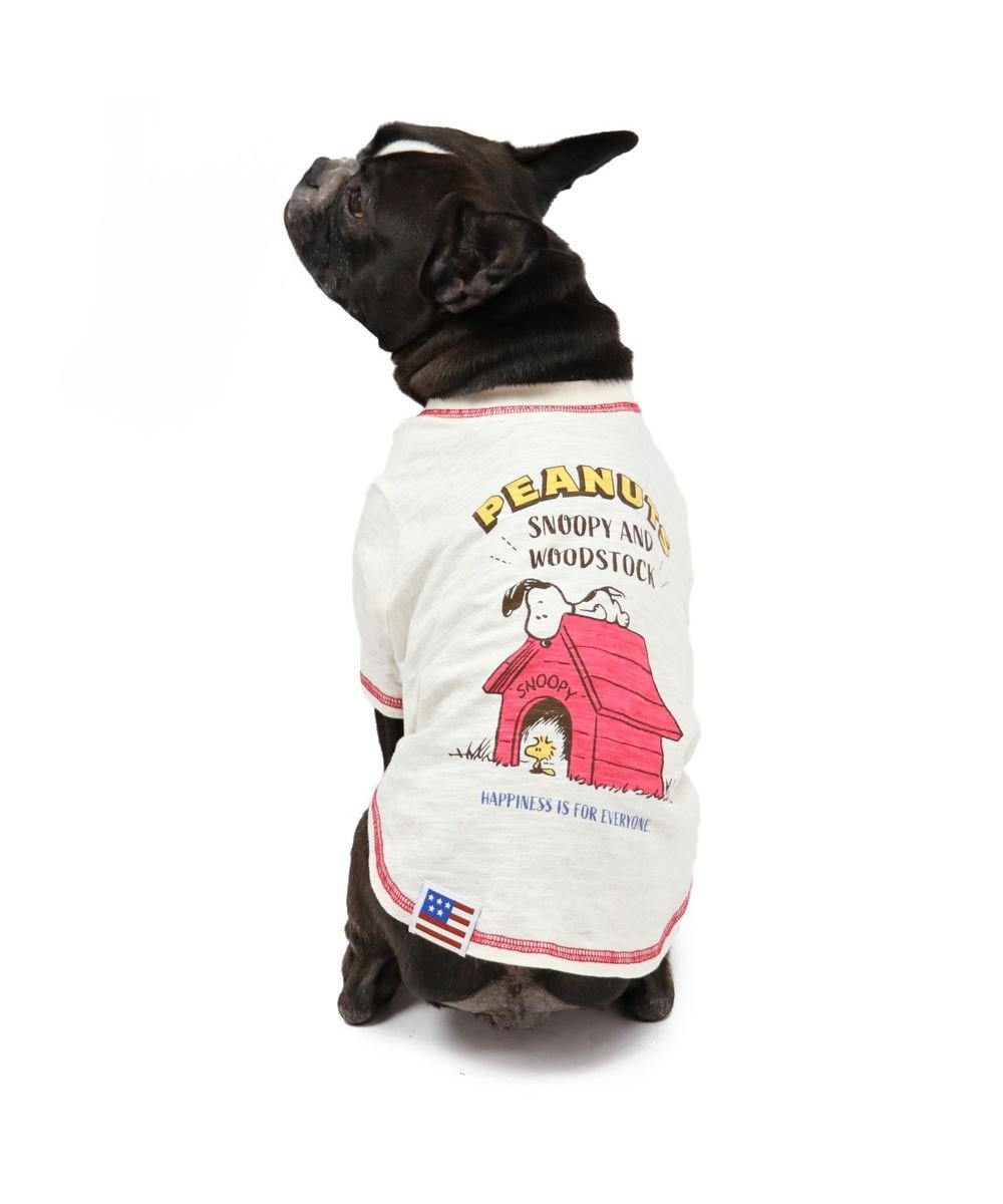 PET PARADISE 犬服 犬 服 ペットパラダイス スヌーピー 赤屋根 Tシャツ 〔中・大型犬〕 中型犬 大型犬 白~オフホワイト