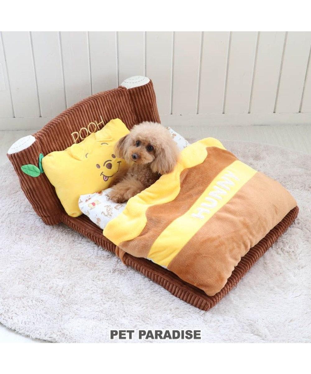 PET PARADISE 犬 ベッド おしゃれ ディズニー くまのプーさん カドラーベッド (62×68cm) 折畳み 猫 小型犬 介護 ふわふわ 通年 春 夏 秋 冬 クッション ソファ カドラー 室内 茶系