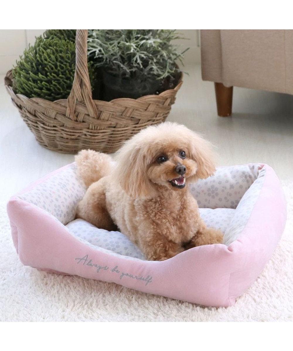 PET PARADISE 犬 春 ペット ベッド カドラーベッド (57×45cm) 花柄 四角カドラー 犬 猫 ベッド 小型犬 おしゃれ かわいい ピンク(淡)