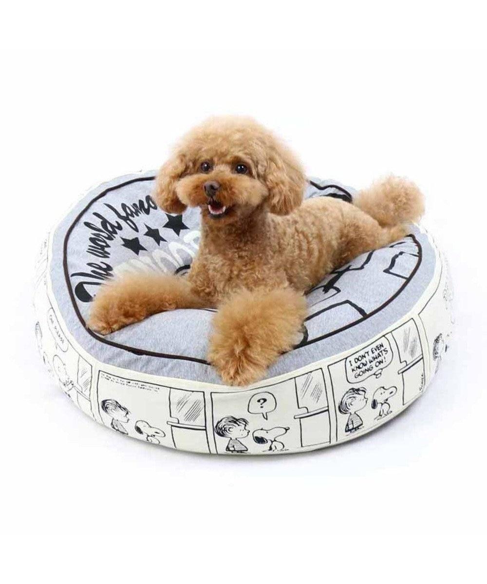 PET PARADISE 犬用品 ペットグッズ ベッド ベット ペットパラダイス ペット ベッド スヌーピー クッション (60cm) ハッピーダンス 猫 ハウス介護 おしゃれ かわいい ふわふわ 通年 夏 秋 冬 クッション ソファ カドラー あごのせ キャラクター グレー