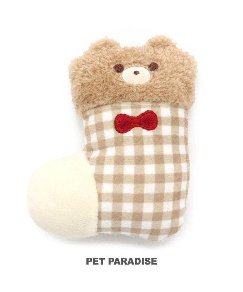 PET PARADISE 犬 トイ TOY くま 靴下おもちゃ 音が鳴る ぬいぐるみ ボール ロープ オモチャ 玩具 小型犬 おもちゃ 猫 かわいい おもしろ インスタ映え 茶系