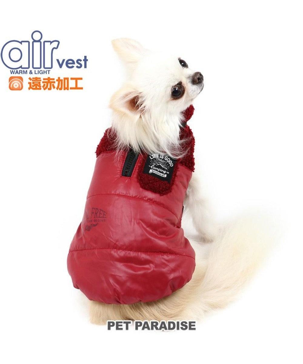 PET PARADISE 犬 服 秋服 遠赤外線 エアベスト 〔小型犬〕 切り替え 赤 ドッグウエア ドッグウエア いぬ イヌ おしゃれ かわいい 軽い あたたか 洗える 赤
