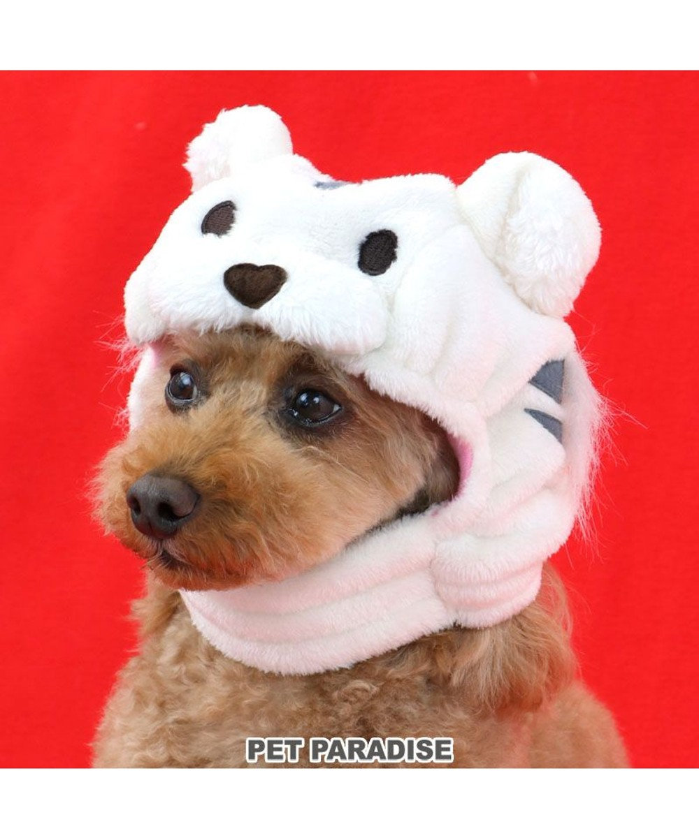 PET PARADISE 犬 帽子 トラ  〔小型犬〕 白 虎 とら かぶりもの 被り物 お正月 年賀状 干支 2022年 SNS インスタ映え 着ぐるみ コスチューム コスプレ かわいい 白