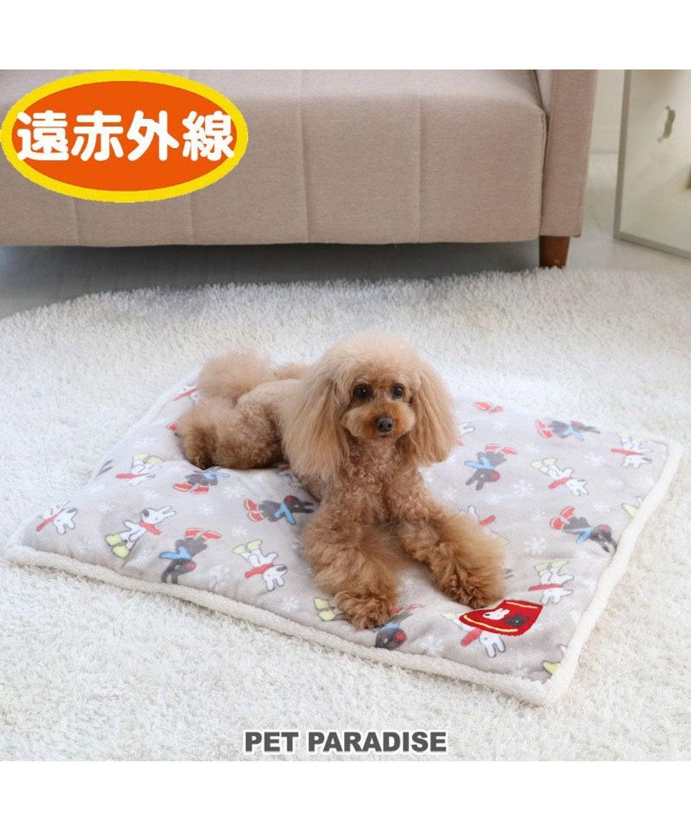 PET PARADISE リサとガスパール 長ぐつ柄 遠赤外線 ボアマット (80×60cm) グレー