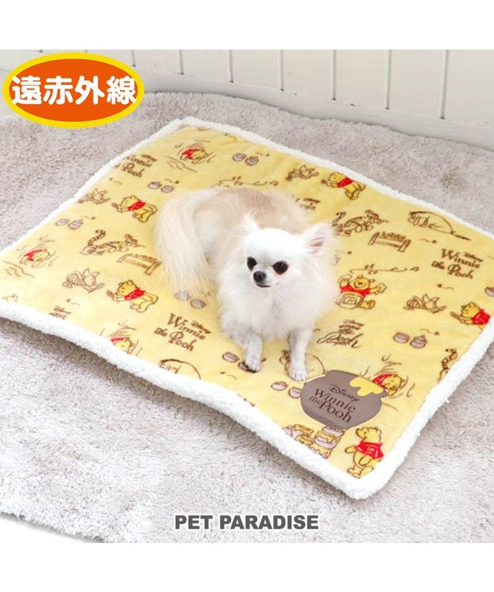 PET PARADISE 犬 マット 遠赤外線 ディズニー くまのプーさん ボアマット (80×60cm) ハニー柄 犬 猫 ベッド 小型犬 おしゃれ かわいい 黄