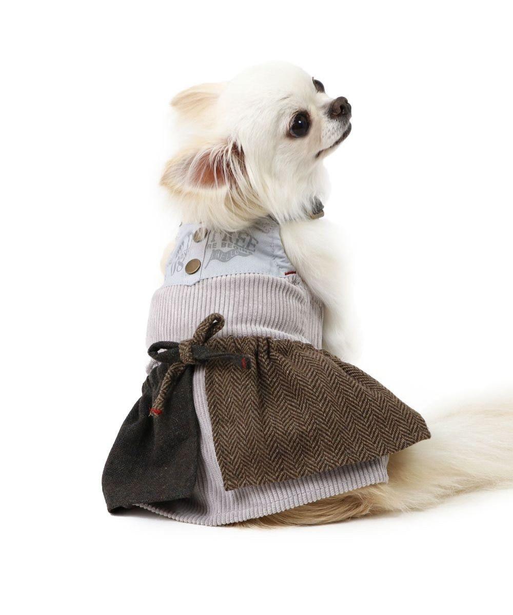 PET PARADISE 犬 服 スカートつなぎ 〔小型犬〕 コーデュロイ 犬服 犬の服 犬 服 ペットウエア ペットウェア ドッグウエア ドッグウェア ベビー 超小型犬 小型犬 グレー