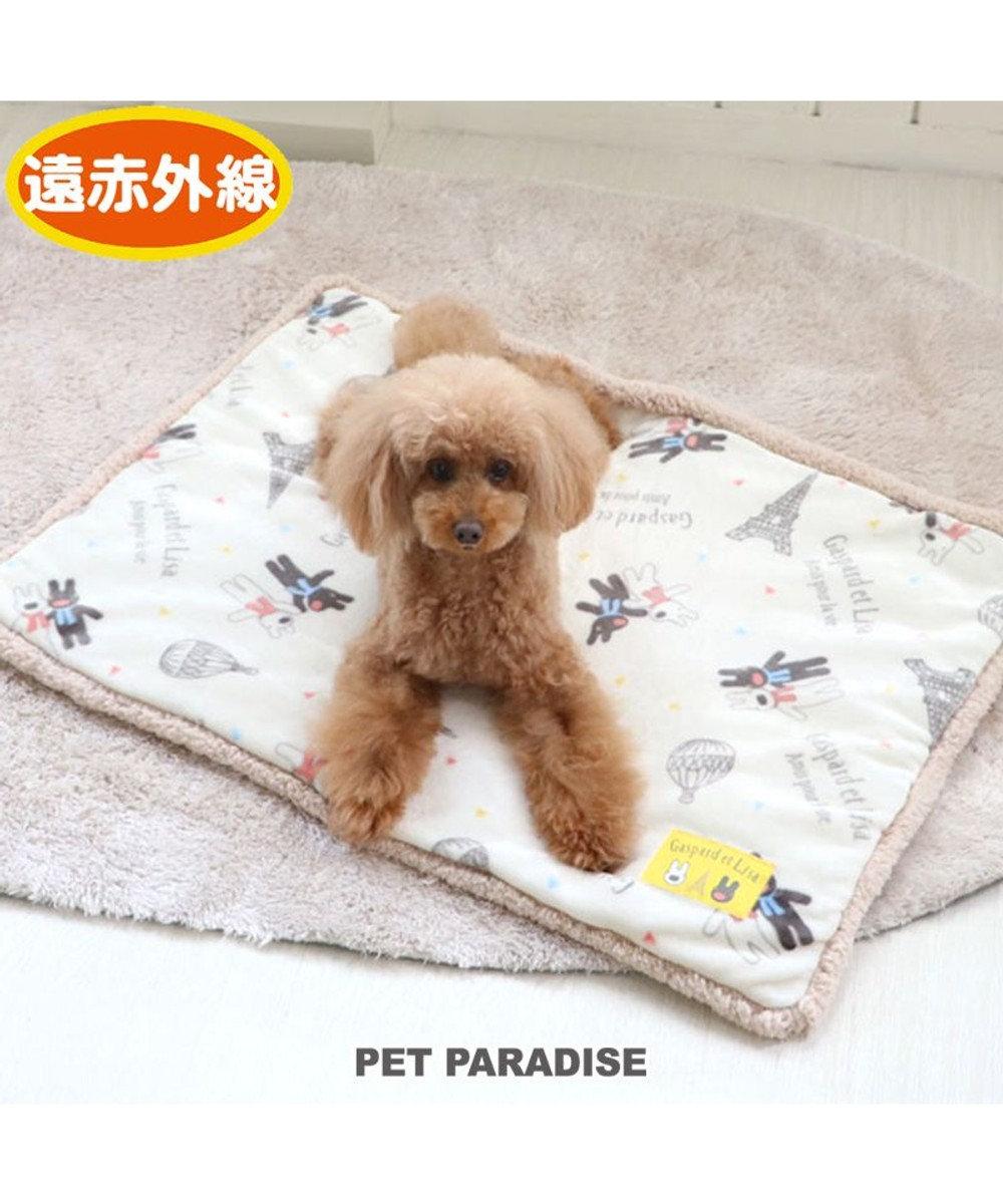 PET PARADISE 犬 マット 遠赤外線 リサとガスパール ボア マット (80×60cm) 気球柄 犬 猫 ベッド 小型犬 おしゃれ かわいい 白~オフホワイト