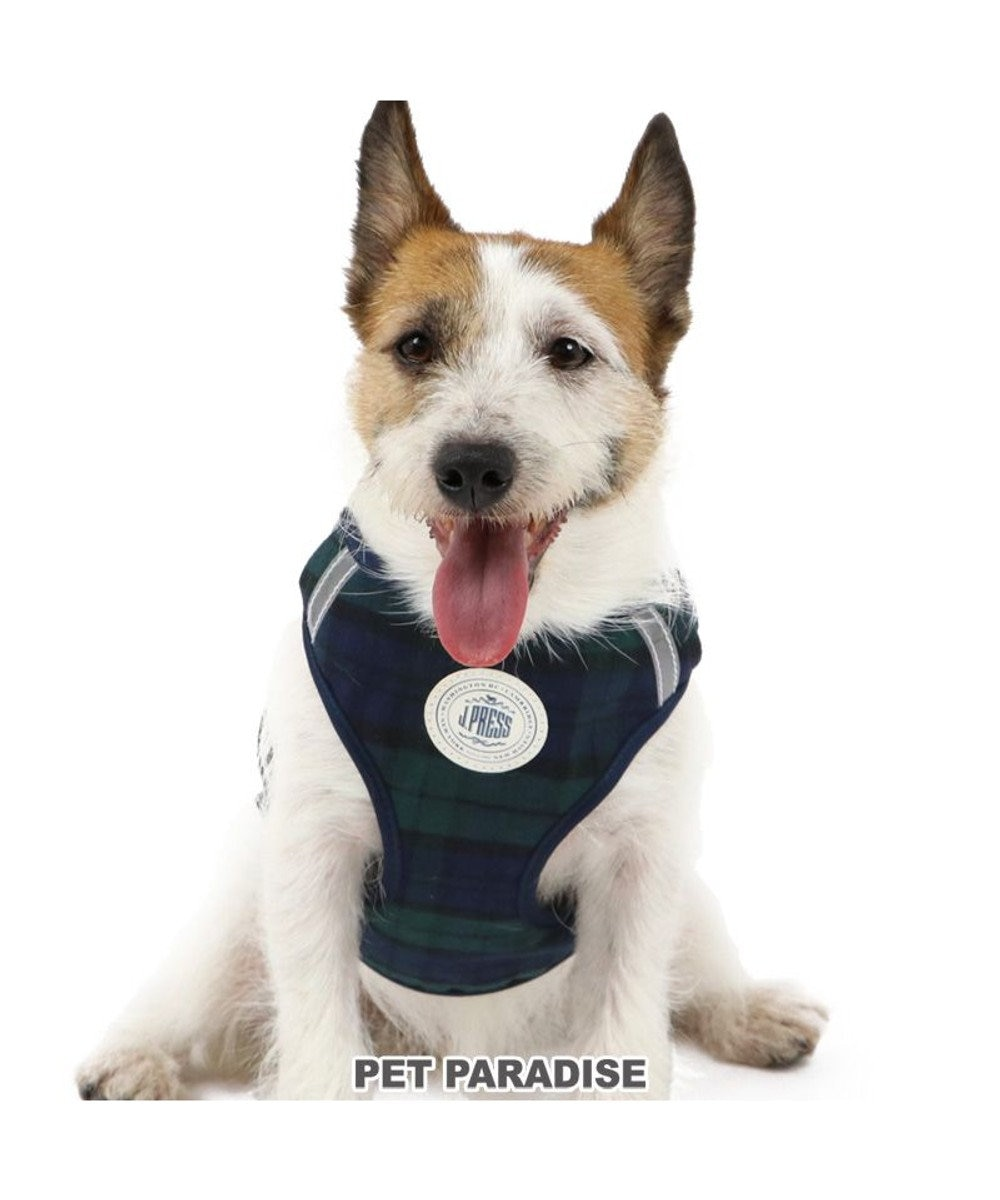 PET PARADISE 犬 ハーネス リード J.PRESS ハーネス&リード 【S】 ブラックウォッチ 小型犬 おさんぽ おでかけ お出掛け おしゃれ オシャレ かわいい 緑