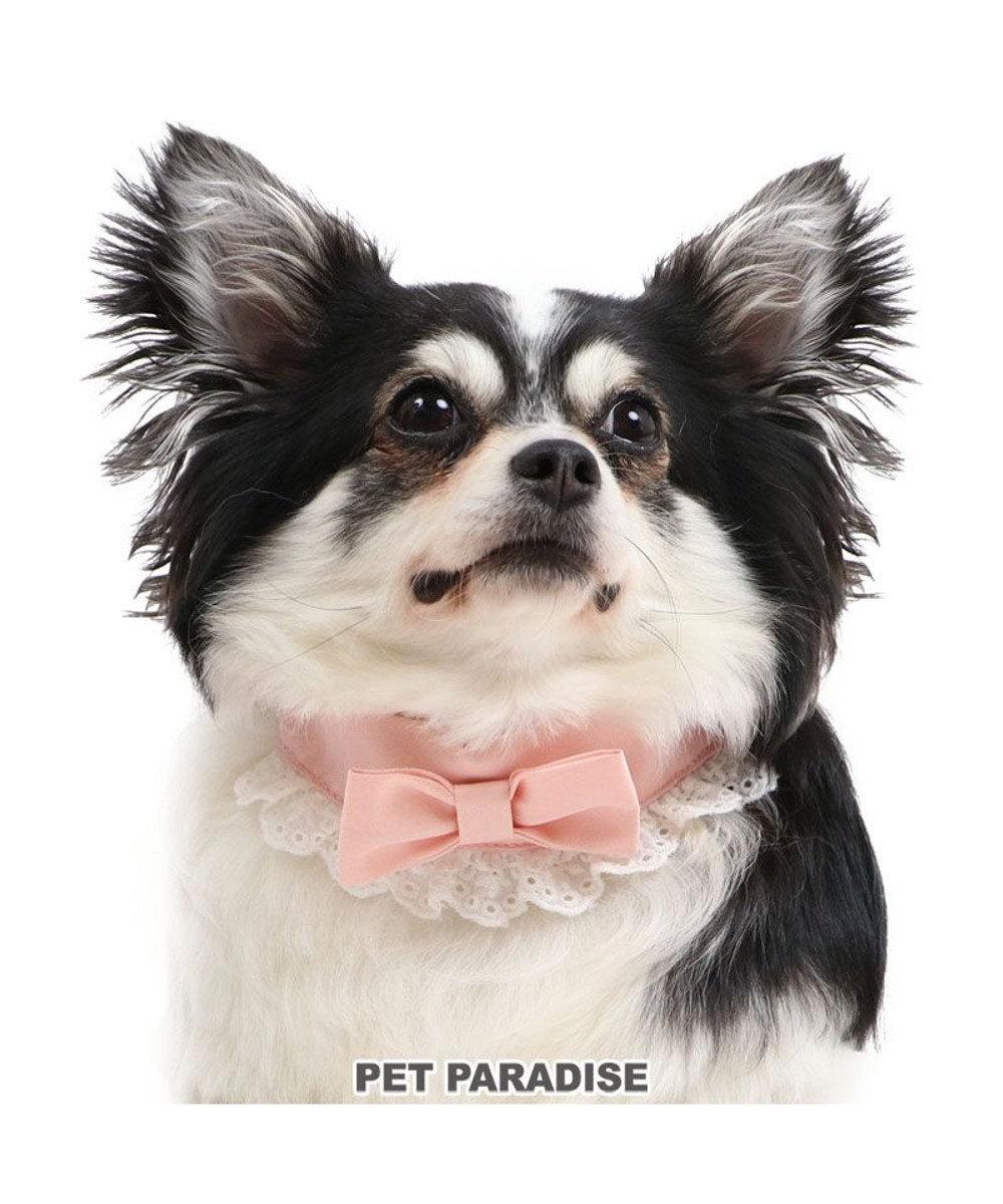 PET PARADISE 犬 首輪 【S】 りぼん 小型犬 リボン おさんぽ おでかけ お出掛け おしゃれ オシャレ かわいい ピンク(淡)