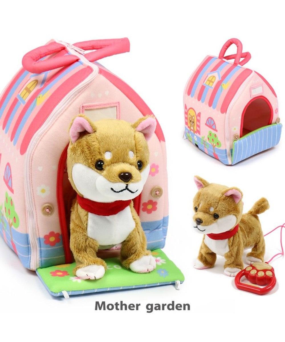 Mother garden マザーガーデン 一緒にお散歩わんちゃん&ハウス・桃 2点セットおもちゃ 女の子 子供 ぬいぐるみ 収納 誕生日プレゼント 玩具 お家遊び 茶しばセット
