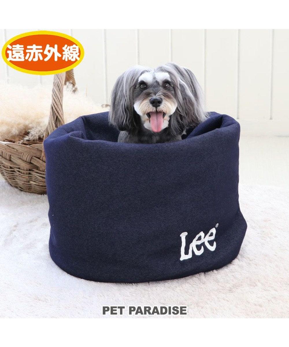 PET PARADISE 犬 ベッド おしゃれ 遠赤外線 Lee 寝袋 カドラー (42×70cm) ニットデニム 筒型 暖かい あったか 保温 防寒 防寒対策 もこもこ ふわふわ 介護 おしゃれ かわいい 紺(ネイビー・インディゴ)